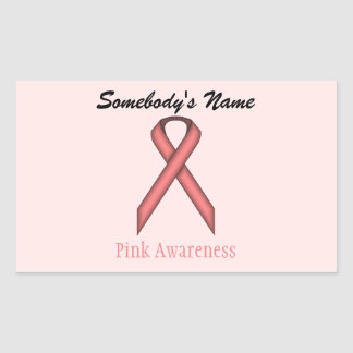 Pink Standard Ribbon Rectangular Sticker