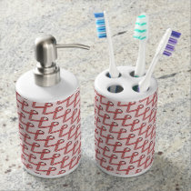 Pink Standard Ribbon Soap Dispenser And Toothbrush Holder