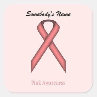 Pink Standard Ribbon Square Sticker