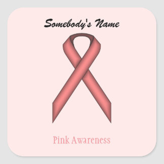 Pink Standard Ribbon Square Sticker