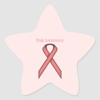 Pink Standard Ribbon Star Sticker