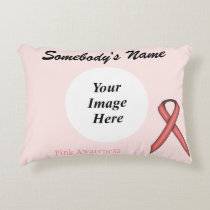 Pink Standard Ribbon Template Accent Pillow