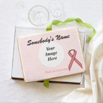 Pink Standard Ribbon Template by Kenneth Yoncich Jumbo Shortbread Cookie