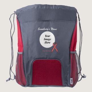 Pink Standard Ribbon Template Drawstring Backpack