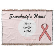 Pink Standard Ribbon Template Throw Blanket