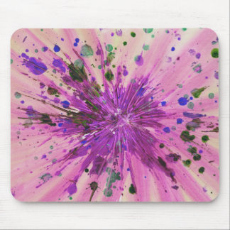 Pink Star Abstract Art Acrylic Painting Design Mouse Pad