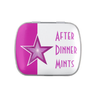 Pink Star 'After Dinner Mints' pink white Jelly Belly Tin