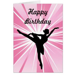 Pink Star Ballerina Birthday Card