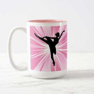 Pink Star Ballerina Two-Tone Coffee Mug