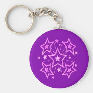 Pink Star Burst Key Chains