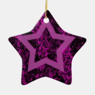 Pink Star Ceramic Ornament