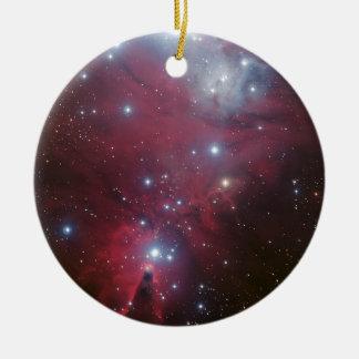 Pink Star Cluster Nebula Ceramic Ornament