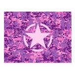 Pink Star Deco on Digital Camo Style Postcard