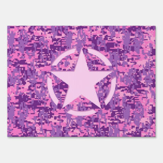 Pink Star Deco on Digital Camo Style Yard Sign