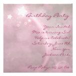 Pink Star Dust Birthday Invitation