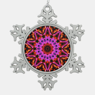 Pink Star Flower - Snowflake Ornament