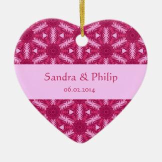 Pink Star Flowers Wedding Favor Thank You Ceramic Ornament