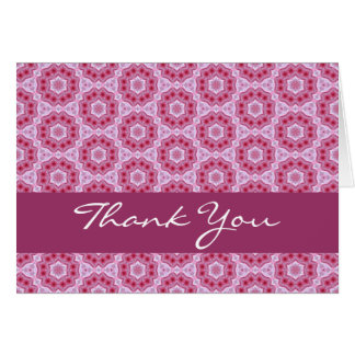Pink Star Flowers with Lace Thank You H202 Greeting Cards