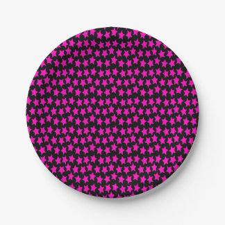 pink star galaxy paper plate