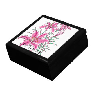 Pink Star Gazer Lily Keepsake Box