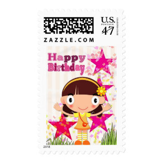 Pink Star Happy Birthday Girl Stamp
