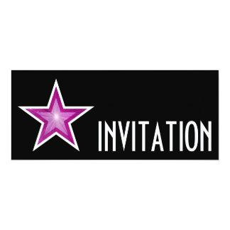 Pink Star 'INVITATION' black long Card