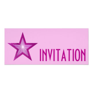 Pink Star 'INVITATION' pale pink long Card