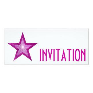 Pink Star 'INVITATION' white long Card