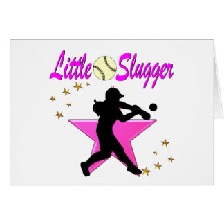 PINK STAR LITTLE SLUGGER SOFTBALL DESIGN CARD