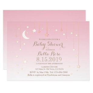 Moon and stars baby shower invitations zazzle pink star moon baby girl baby shower invitation filmwisefo