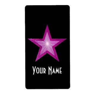 Pink Star 'Name' label large black