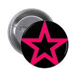 Pink Star on Black - Button