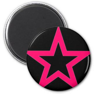 Pink Star on Black - Magnet