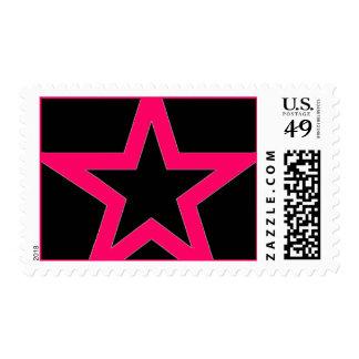 Pink Star on Black - Stamp