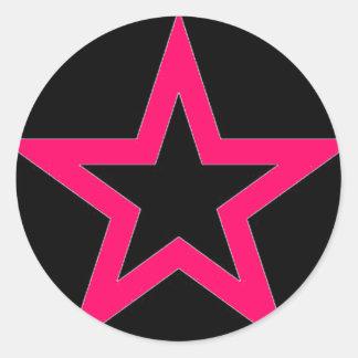 Pink Star on Black - Sticker