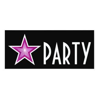Pink Star 'PARTY' invitation black long