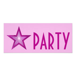 Pink Star 'PARTY' invitation pale pink long