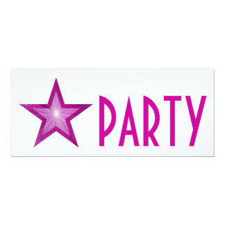 Pink Star 'PARTY' invitation white long