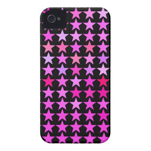 Pink Star Pattern Black iPhone 4 Covers