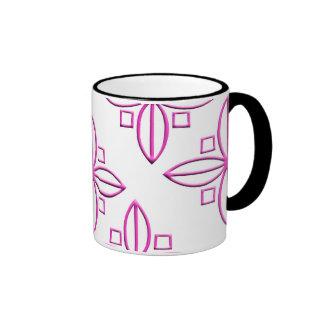 Pink Star Petal Graphic Ringer Mug