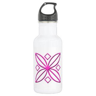 Pink Star Petal Graphic Water Bottle
