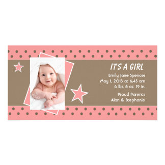 Pink Star Photo Birth Announcement