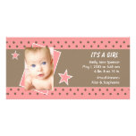 Pink Star Photo Birth Announcement Photo Cards