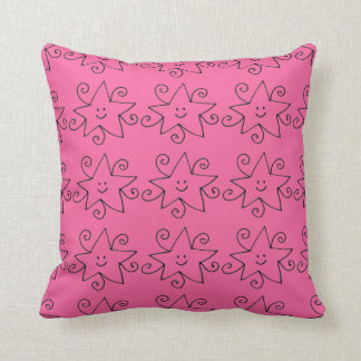 pink star print cushion