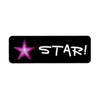 "Pink Star ""STAR!"" label small black"