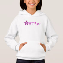 Pink Star 'STAR!' small star front  & back Hoodie