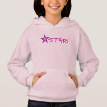 Pink Star 'STAR!' small star front  & back pink Hoodie