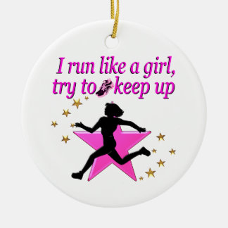 PINK STAR TRACK AND FIELD CHAMPION CERAMIC ORNAMENT