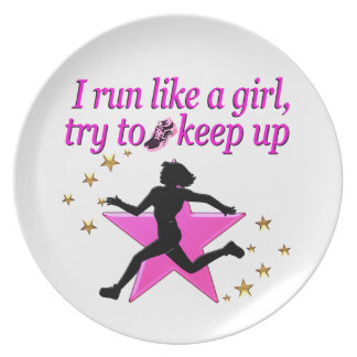 PINK STAR TRACK AND FIELD CHAMPION DINNER PLATE