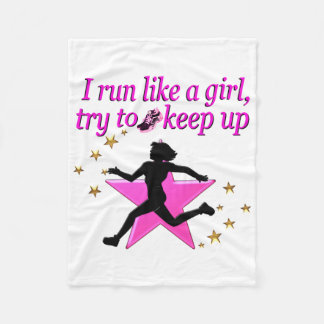 PINK STAR TRACK AND FIELD CHAMPION FLEECE BLANKET